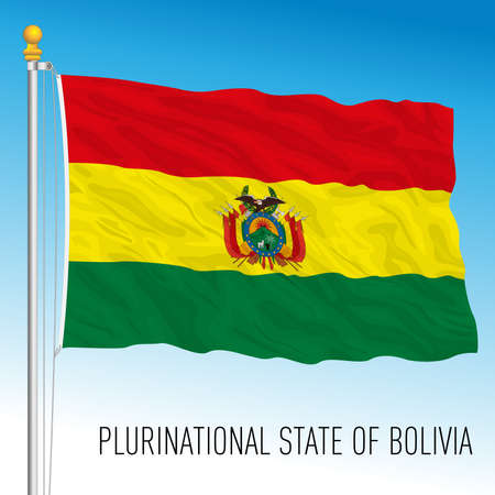Bolivia official national flag, south american country, vector illustration Stock Illustratie