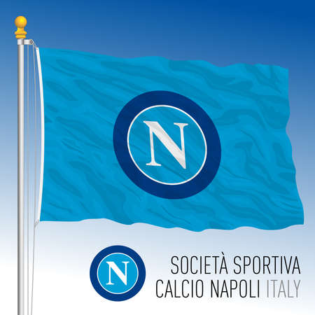 Italy, year 2021, football championship - Napoli SSC flag and team crest, vector illustration