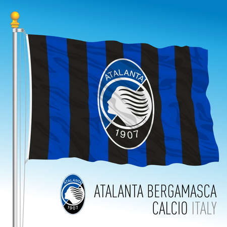 Italy, year 2021, football championship - Atalanta FC flag and team crest, vector illustration