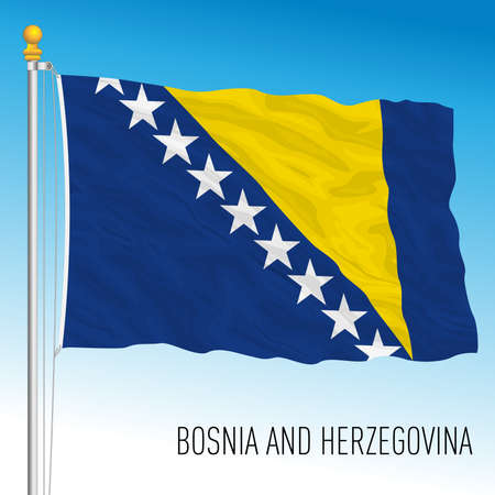 Bosnia and Herzegovina official national flag, European country, vector illustration 矢量图像