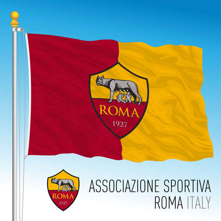 Italy, year 2021, football championship - Roma AC flag and team crest, vector illustration
