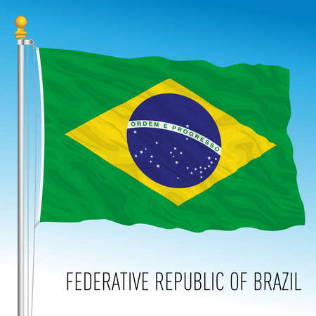 Brazil official national flag, south american country, vector illustration
