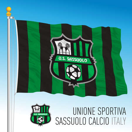 Italy, year 2021, football championship - Sassuolo FC flag and team crest, vector illustration