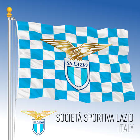 Italy, year 2021, football championship - Lazio flag and team crest, vector illustration
