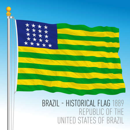 Brazil 1889, historical flag, vector illustration 矢量图像