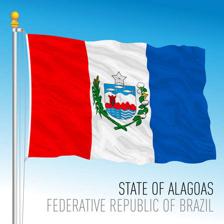 State of Alagoas, official regional flag, Brazil, vector illustration 矢量图像