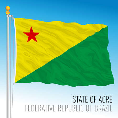 State of Acre, official regional flag, Brazil, vector illustration 矢量图像