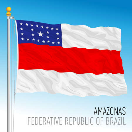 State of Amazonas, official regional flag, Brazil, vector illustration