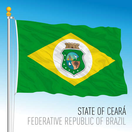 State of Ceara, official regional flag, Brazil, vector illustration