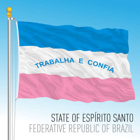 State of Espirito Santo, official regional flag, Brazil, vector illustration