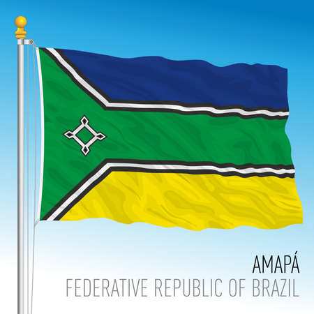 State of Amapa, official regional flag, Brazil, vector illustration