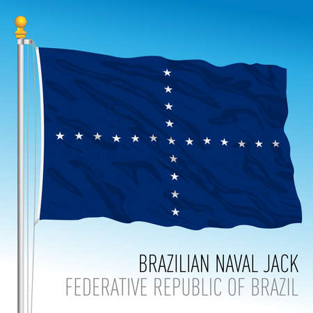 Naval jack flag, Brazilian Navy, Brazil, vector illustration