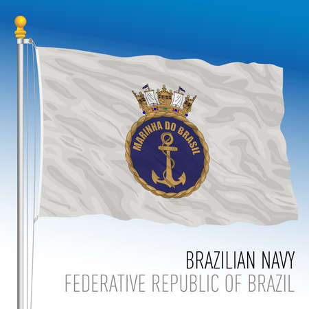 Navy flag of Brazil, vector illustration
