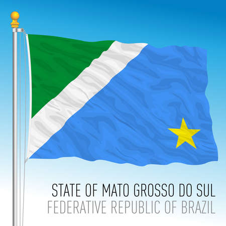 State of South Mato Grosso, official regional flag, Brazil, vector illustration