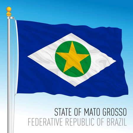 State of Mato Grosso, official regional flag, Brazil, vector illustration