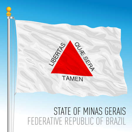 State of Minas Gerais, official regional flag, Brazil, vector illustration