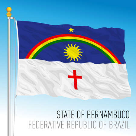 State of Pernambuco, official regional flag, Brazil, vector illustration