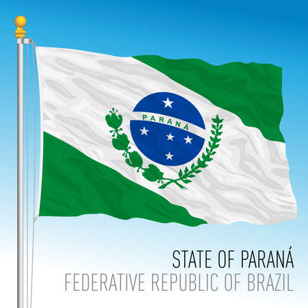 State of Parana, official regional flag, Brazil, vector illustration 矢量图像