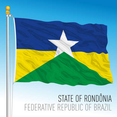 State of Rondonia, official regional flag, Brazil, vector illustration