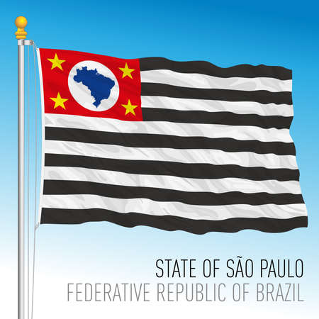 State of Sao Paulo, official regional flag, Brazil, vector illustration