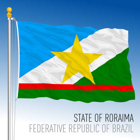 State of Roraima, official regional flag, Brazil, vector illustration
