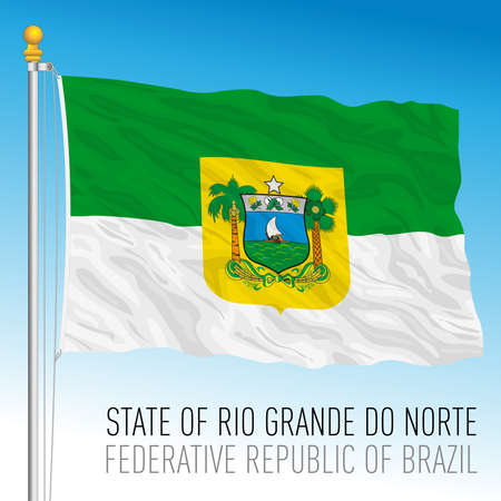 State of Rio Grande do Norte, North Rio Grande, official regional flag, Brazil, vector illustration 矢量图像