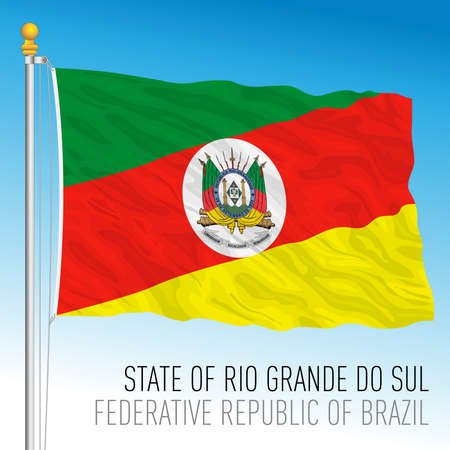 State of Rio Grande do Sul, South Rio Grande, official regional flag, Brazil, vector illustration 矢量图像