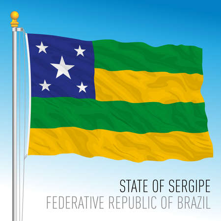 State of Sergipe, official regional flag, Brazil, vector illustration