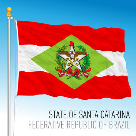 State of Santa Catarina, official regional flag, Brazil, vector illustration