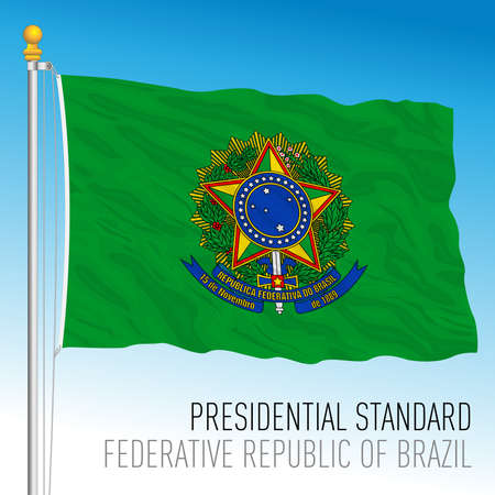 Official presidential flag of the Federative Republic of Brazil, vector illustration