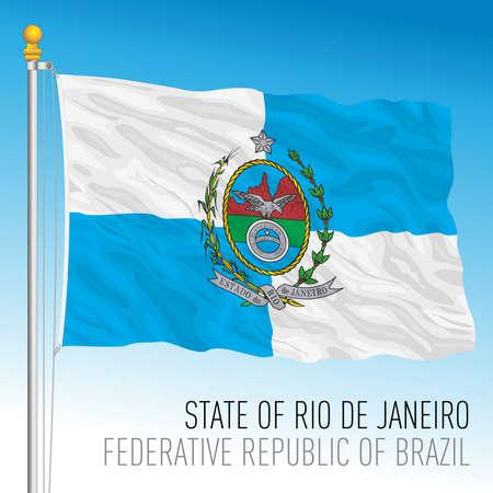 State of Rio de Janeiro, official regional flag, Brazil, vector illustration Illusztráció