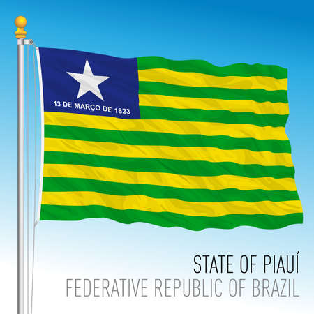 State of Piaui, official regional flag, Brazil, vector illustration