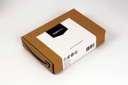 Amazon carton box, basic shipping package, illustrative editorial