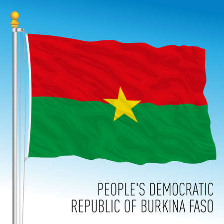 Burkina Faso official national flag and coat of arms, African country, vector illustration