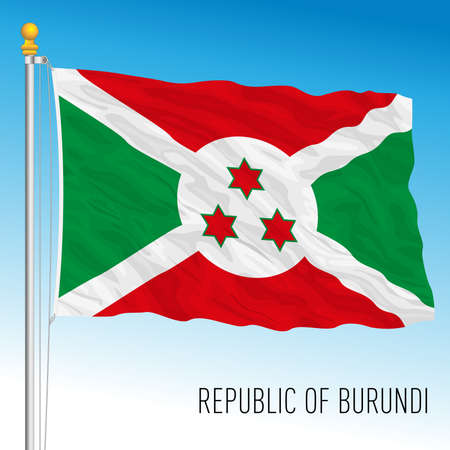 Burundi official national flag, african country, vector illustration
