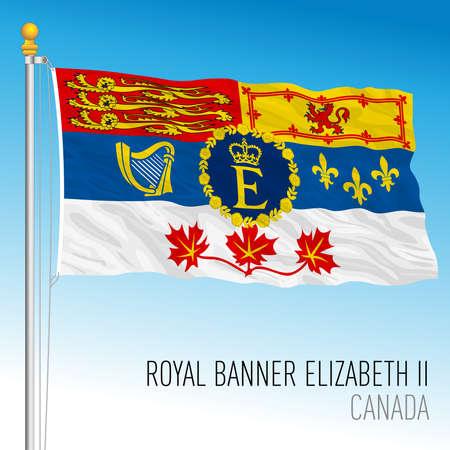 Royal banner of queen Elizabeth, Canada, north american country, vector illustration