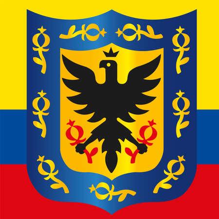Santa Fe de Bogota official municipal coat of arms, capital city of Colombian Republic, Colombia, vector illustration Иллюстрация