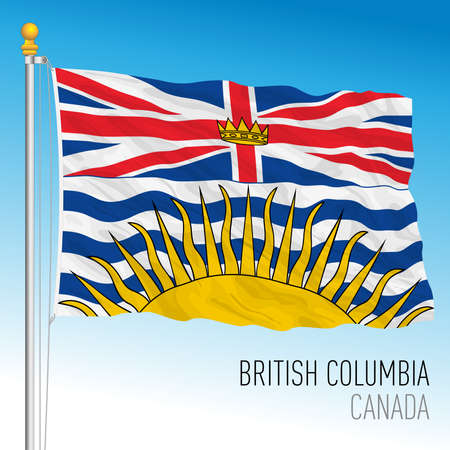 British Columbia territorial and regional flag, Canada, north american country, vector illustration Иллюстрация