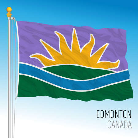 Edmonton city flag, new template, Canada, north american country, vector illustration