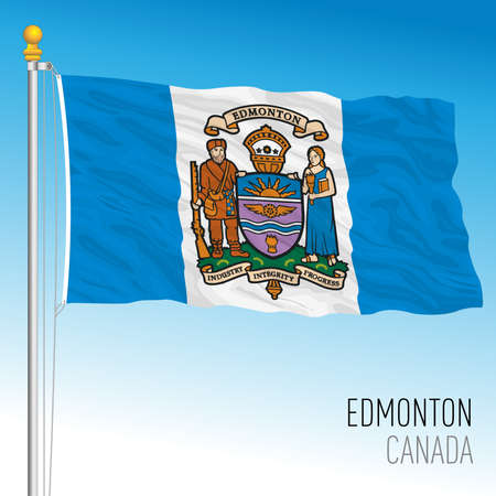 Edmonton city flag, Canada, north american country, vector illustration