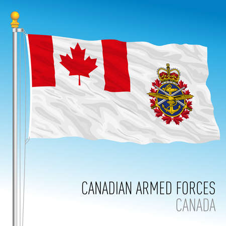 Canadian Armed Forces flag, Canada, north american country, vector illustration