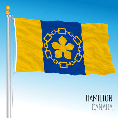 City of Hamilton flag, Canada, north american country, vector illustration