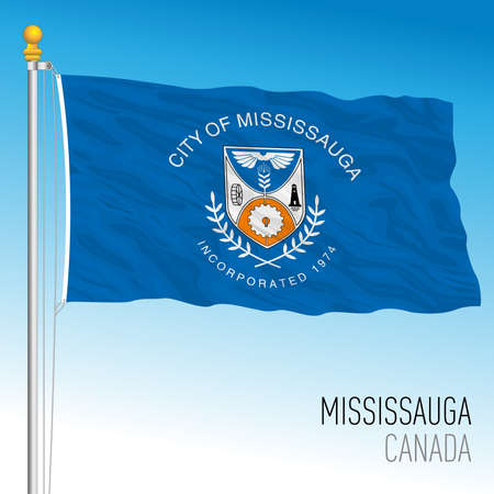 City of Missisauga flag, Canada, north american country, vector illustration