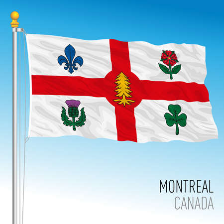 City of Montreal flag, Canada, north american country, vector illustration Иллюстрация