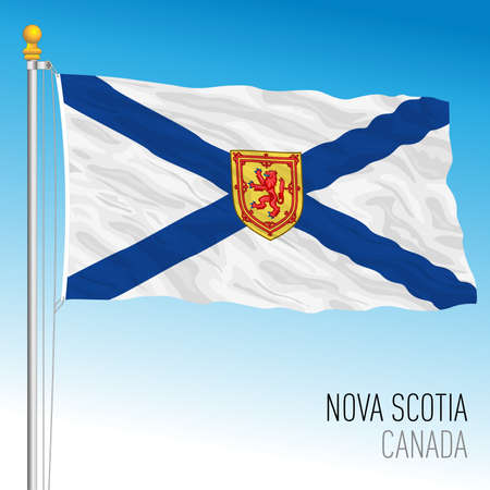 Nova Scotia territorial and regional flag, Canada, north american country, vector illustration