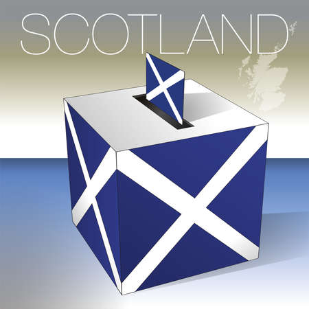 Scotland, ballot box symbol with scottish flag and map, vector illustration