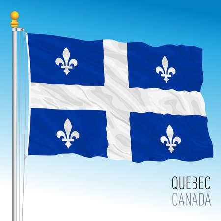Quebec territorial and regional flag, Canada, north american country, vector illustration Иллюстрация