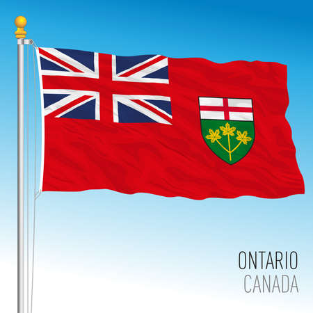 Ontario territorial and regional flag, Canada, north american country, vector illustration