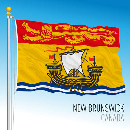 New Brunswick territorial and regional flag, Canada, north american country, vector illustration