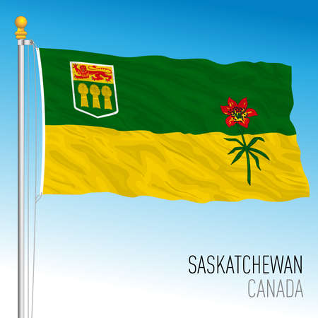 Saskatchewan territorial and regional flag, Canada, north american country, vector illustration